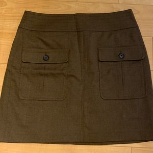 Loft brown pocket flap mini skirt